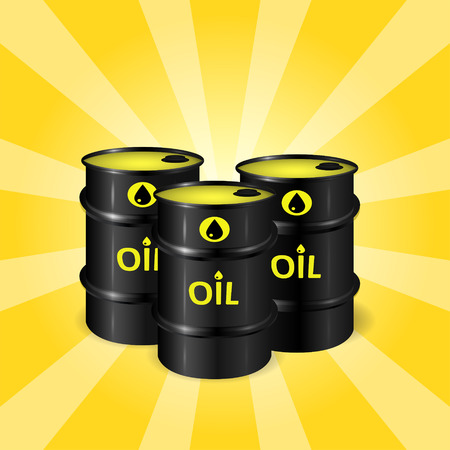 Three realistic oil barrels on sunray background, commercial oil storage concept, black, yellow and orange colors, 3d realistic vector illustration