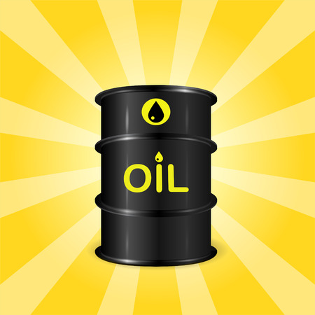 sunray: Single realistic oil barrel on sunray background, front view, concept of oil storage, 3d realistic vector illustration Illustration