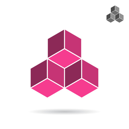Cubes collected together, cube icon, cooperation concept, 3d isometric vector illustration, isolated on white background