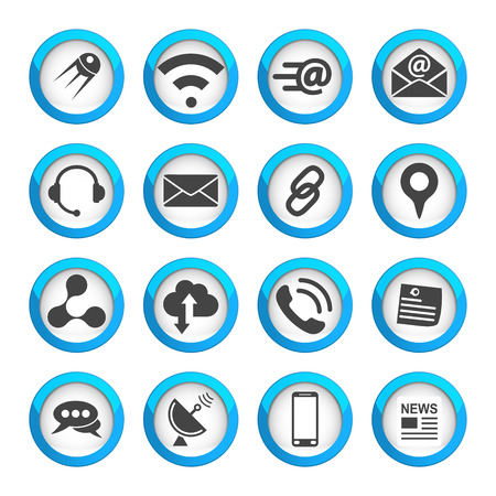Connection and communication icons set, 16 vector 2d signs on round pads 矢量图像
