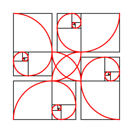 proportion: Golden section formes pattern on white background, golden proportion geometric figure, 2d vector illustration Illustration