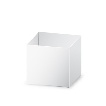 White opened realistic box, 3d vector illustration with shadow on white background