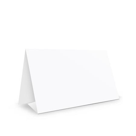 Blank white paper stand holder, empty table holder object , realistic 3d vector illustration on white background