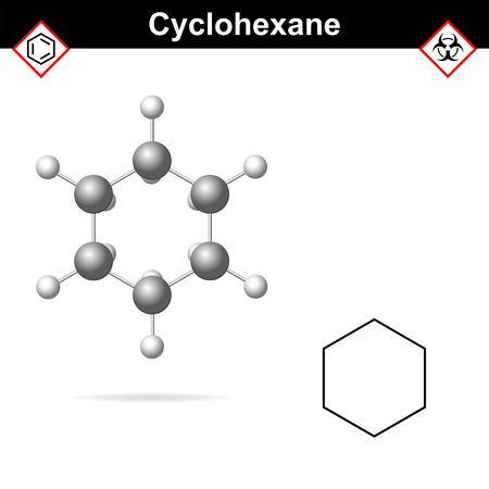 Cyclohexane chemical formula and molecular structure, organic reagent, cycloalkanes family,  3d vector illsutration, isolated on white background