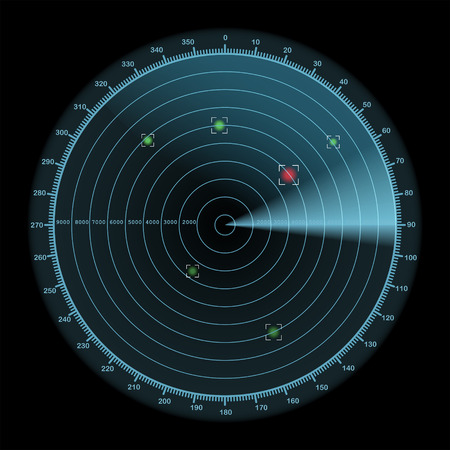 Radar display icon, enemy detection concept, 2d vector illustration on dark background Illustration