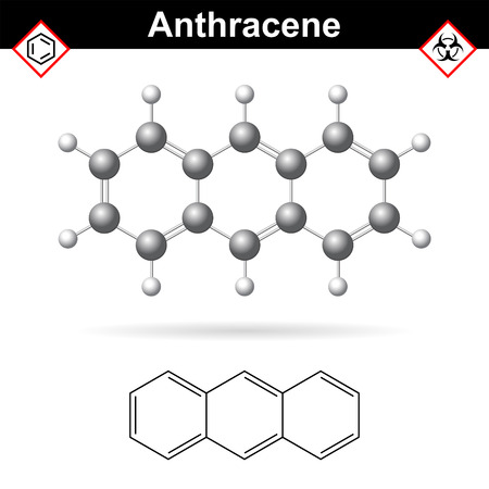 carcinogenic: Anthracene chemical molecule, polycyclic aromatic hydrocarbon class, scientific vector 2d and 3d illustration, isolated on white background