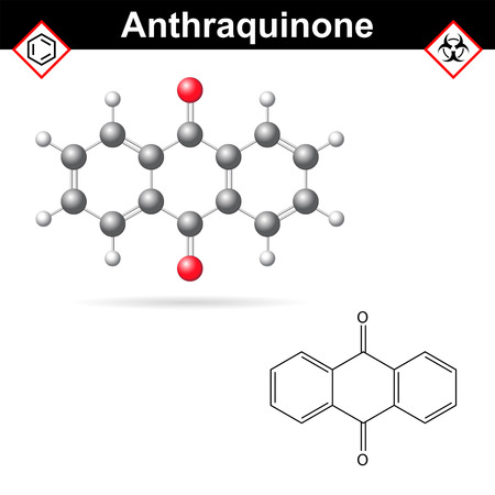 Anthraquinone chemical structure, quinone class, scientific vector 2d and 3d illustration, isolated on white background 矢量图像