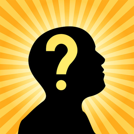 Human silhouette with question mark sign inside the head, concept of thought, 2d vector illustration on sun ray background Illustration