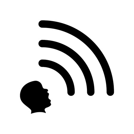 extrasensory: Head emits a wifi signal, extrasensory concept icon, 2d vector icon, isolated on white background