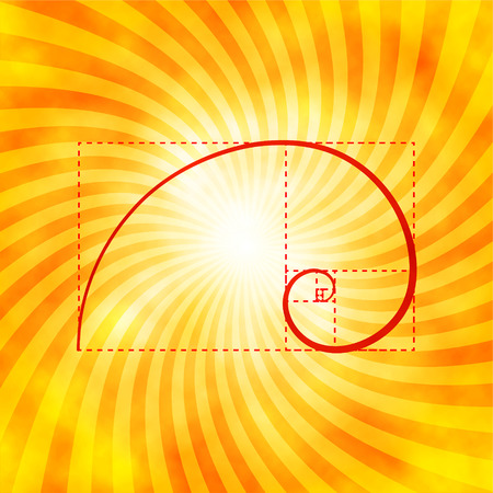 Golden ratio figure on textured sunray background, golden proportion, golden section, 2d vector illustration