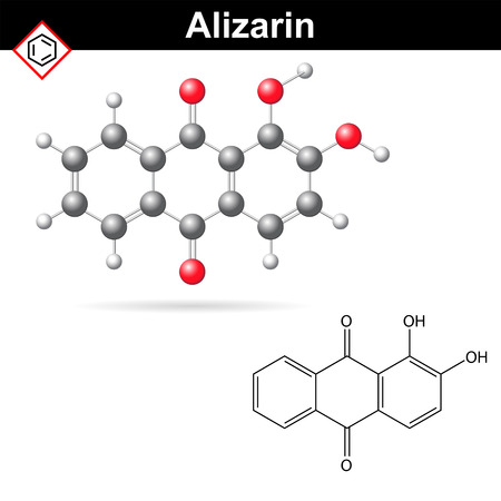 Structural chemical formula and model of alizarin dye, 2d and 3d vector illustration