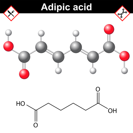 Adipic acid chemical formula, organic compound for nylon production and food additeve E355, 2d and 3d vector illustration on white background