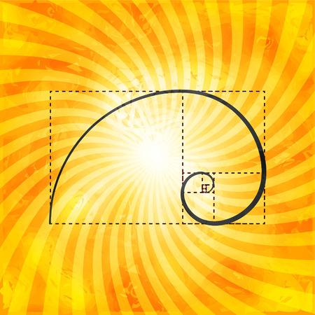 Black golden proportion figure on textured sunray background, golden ratio, golden section, 2d vector illustration