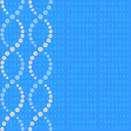 Dna molecule with binary code, 2d vector background, blue color