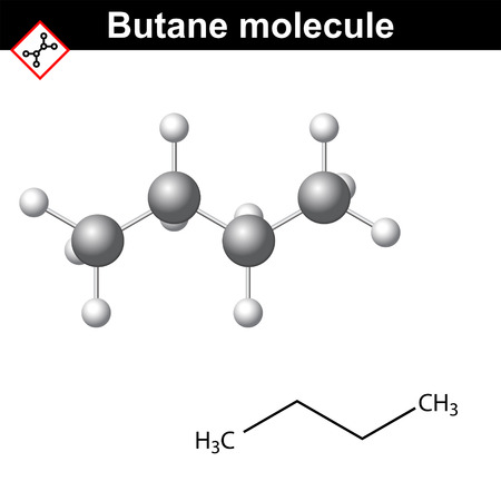 Butane chemical gas compound, chemical formula and molecular structure, 2d and 3d vector illustration, isolated on white background