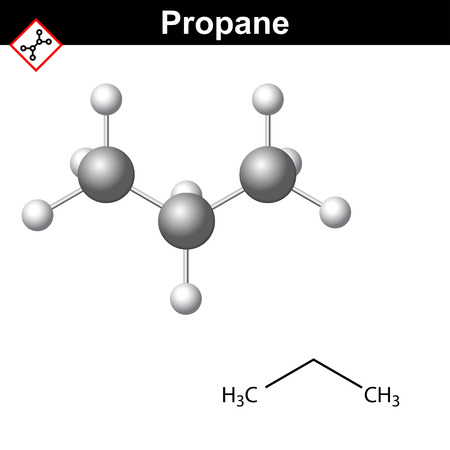 Propane chemical, natural gas component, chemical and molecular structures, 2d and 3d vector illustration, isolated on white background