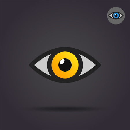Human eye icon, 2d vector icon on dark background 矢量图像