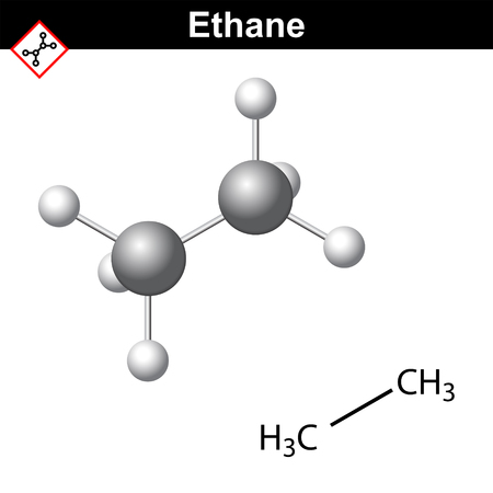 Ethane chemical, natural gas component, chemical and molecular structures,  hydrocarbon class, 2d and 3d vector illustration, isolated on white background