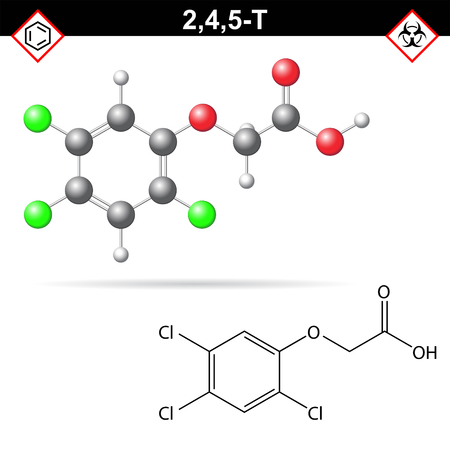 2,4,5-T chemical structure, 2,4,5- trichlorophenoxyacetic acid, widely used herbicide, agent Orange in Vietnam, 3d chemical vector illustration, isolated on white background