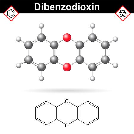 1,4- dibenzodioxine hétérocyclique polycyclique substance chimique organique, structure moléculaire chimique et formule, 2d et 3d illustration vectorielle, isolé sur fond blanc
