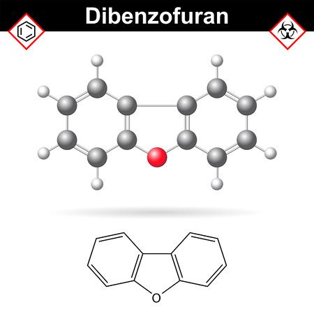 composé aromatique dibenzofurane chimique, la structure chimique moléculaire et formule, 2d et 3d scientifique illustration vectorielle, isolé sur fond blanc