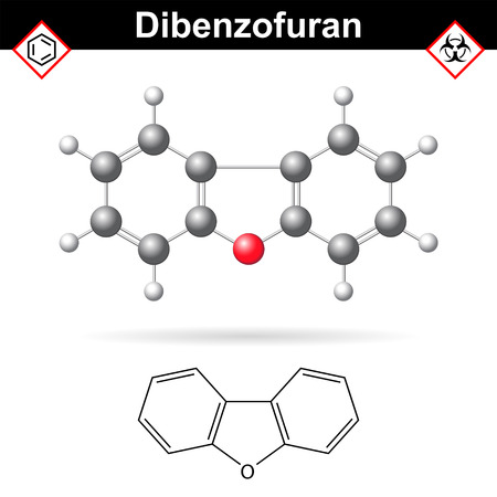 incineration: Dibenzofuran aromatic chemical compound, molecular chemical structure and formula, 2d and 3d scientific vector illustration, isolated on white background