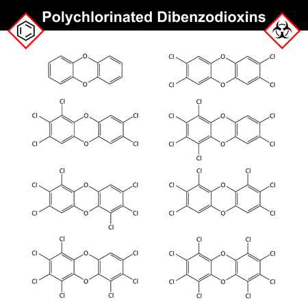 Polychlorinated 1,4- dibenzodioxins, dioxine class of chemical compounds, dangerous synthetic toxicants, 2d vector illustration Illustration