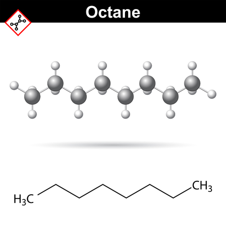 octane: Octane chemical formula, chemical formula and molecular structure, 2d and 3d vector illustration, isolated on white background