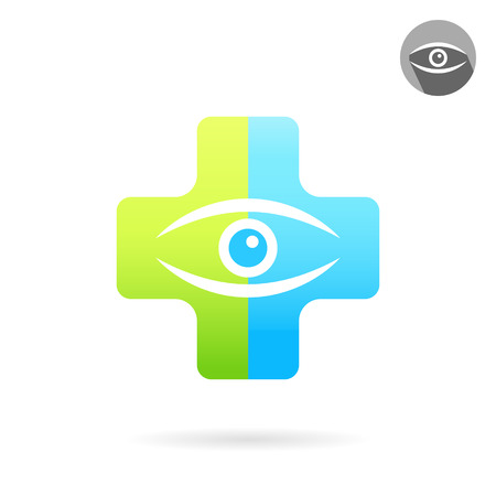 Human eye on medical multicolored plate, treatment of eye diseases concept, 2d vector icon illustration, isolated on white background
