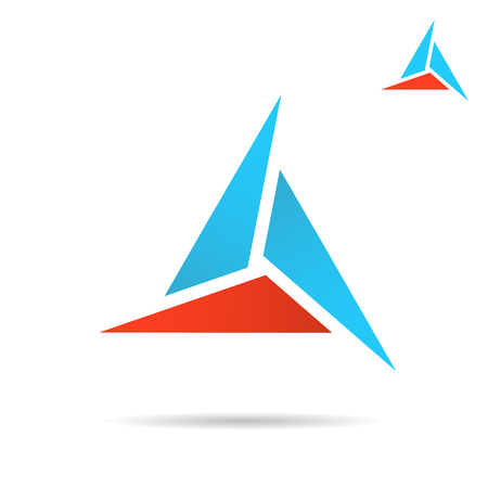 d mark: Triangle with sharp edges formes delta sign, blue and red colors, 2d vector illustration, isolated on white background