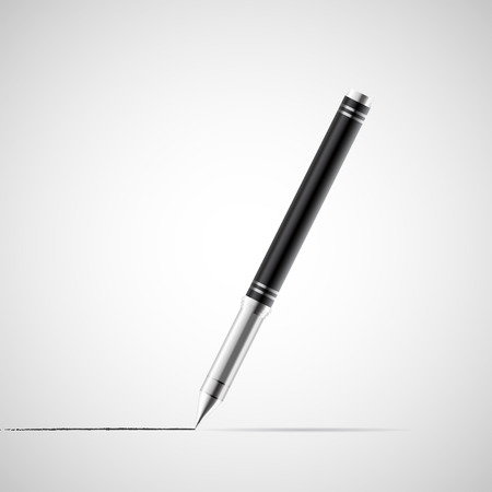 Ball pen stationery tool, 3d vector realistic object illustration, isolated on white background