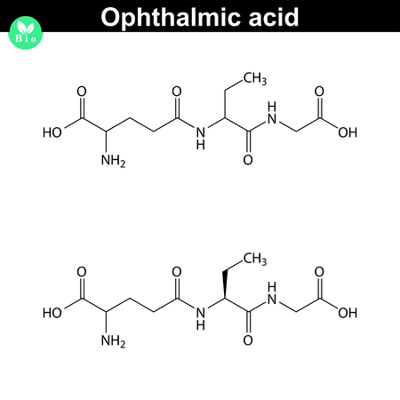 Ophthalmic acid antioxidant chemical structure, scientific 2d vector illustration, isolated on white background