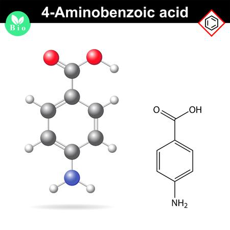 4- aminobenzoïque Molécule acide, PABA - principal intermédiaire de la vitamine B9, précurseur de l'acide folique, 2d et 3d illustration vectorielle, isolé sur fond blanc