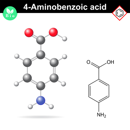 benzoic: 4- Aminobenzoic acid molecule, PABA - main intermediate of vitamin B9, folic acid precursor, 2d and 3d vector illustration, isolated on white background
