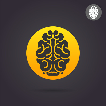 Brain medical icon on colored golden round plate, 2d vector illustration on dark background, medical illustration