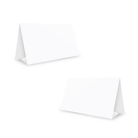 Blank white two stands, mockup table holders, 3d vector illustration, isolated on white background 矢量图像