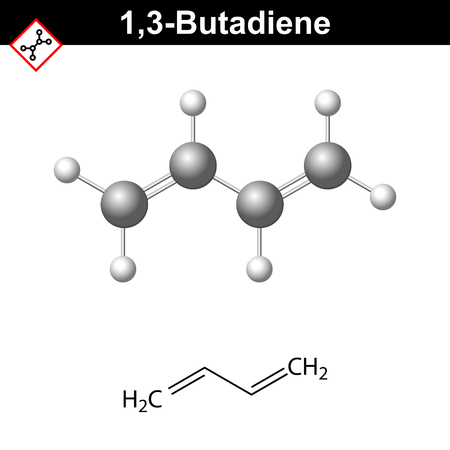 1,3- Butadiene chemical structure, conjugated diene class, monomer of rubber, 2d and 3d vector illustration, isolated on white background