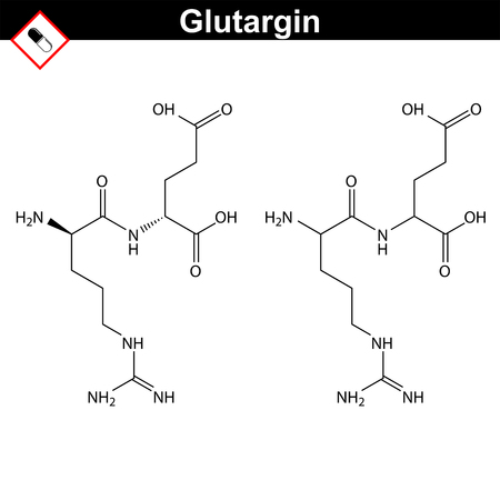 glutamate: Glutargin - hepatoprotective medicinal drug, chemical formula and molecular structure, 2d vector illustration, isolated on white background
