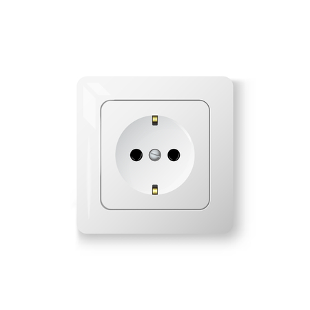 Grounded outlet power socket, 3d realistic vector illustration, electric object, isolated on white background 矢量图像