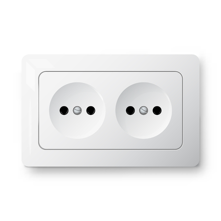 Double power socket, 3d realistic vector illustration, electric object, isolated on white background