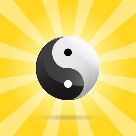 Yin Yang signe spirituel sur fond Sunray, vecteur 2d illustration