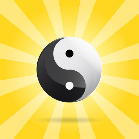 Yin Yang spiritual sign on sunray background, 2d vector illustration Illustration