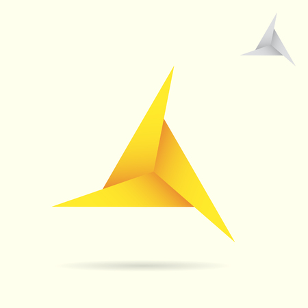 d mark: D letter, delta shape icon, 2d vector illustration on yellow background