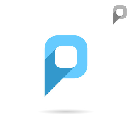 P letter icon, pointer sign, 2d flat vector illustration
