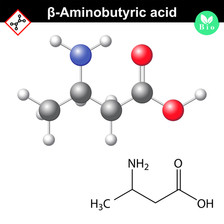 beta- Aminobutyric acid, plant signal molecule of abiotic stress, 2d and 3d vector illustration, islated on white background 矢量图像