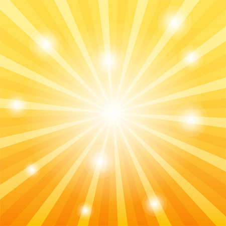Sun ray background with glares, disco party concept, 2d vector background