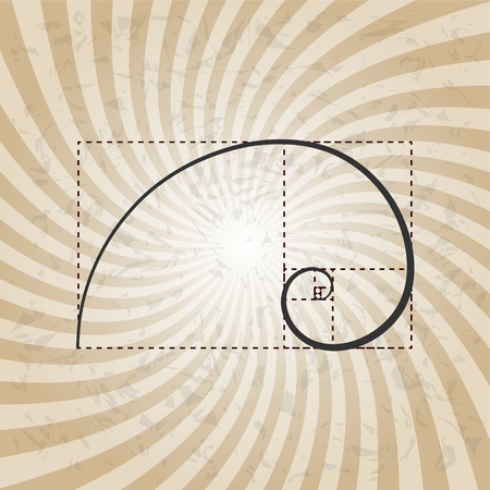 Golden proportion, ratio, section, harmonious layout concept, 2d vector illustration on sun ray background