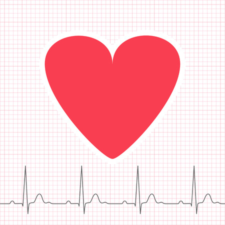 grid paper: ECG graph on grid paper with heart icon, 2d medical vector illustration