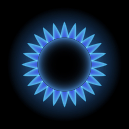 Flames of gas stove, top view, 2d vector illustration on dark background