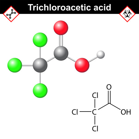 chemical peels: Trichloroacetic acid molecule, 2d and 3d vector illustration, isolated on white background Illustration